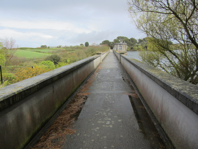 The walkway over the dam at St Saviour Reservoir