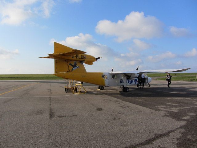 The first flight of the day, Alderney Airport