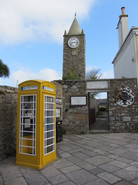 Telephone box and entrance to museum, High Street, St Anne