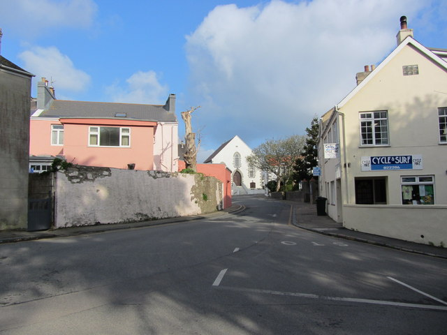 View northwest along Les Rocquettes, St Anne