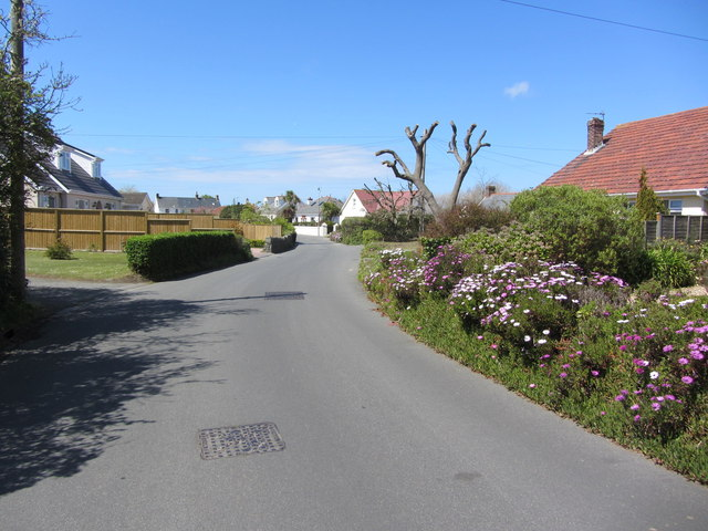 Quiet residential road at Rue des Marais, Vale