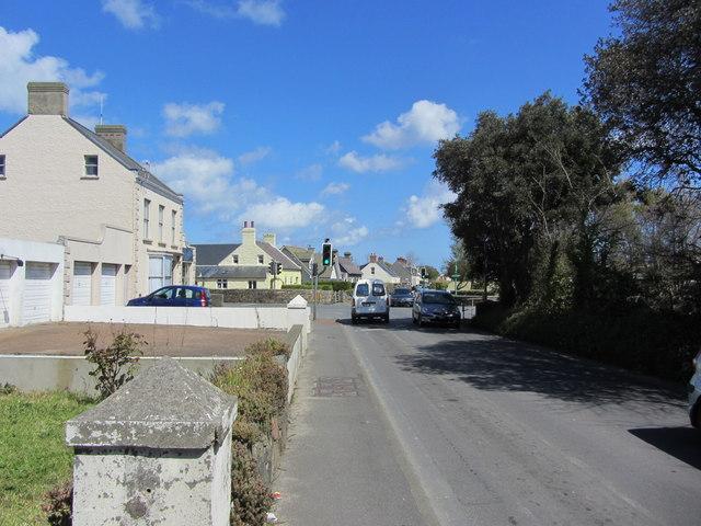The crossroads at junction with  Landes du Marche, Route du Camp Du Roi, Longue Rue and Les Rouvets Roado