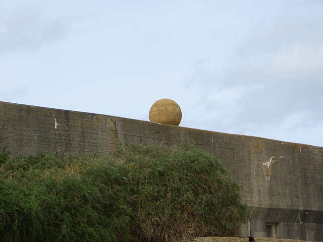 An Alderney Stone atop the Anti-Tank Wall