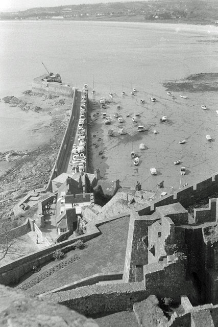 View from top of Gorey Castle towards breakwater, 1967