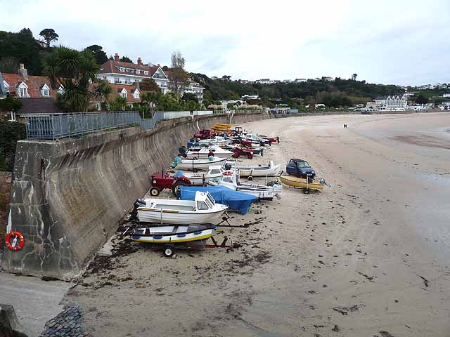 Boat park on the beach at St Brelade