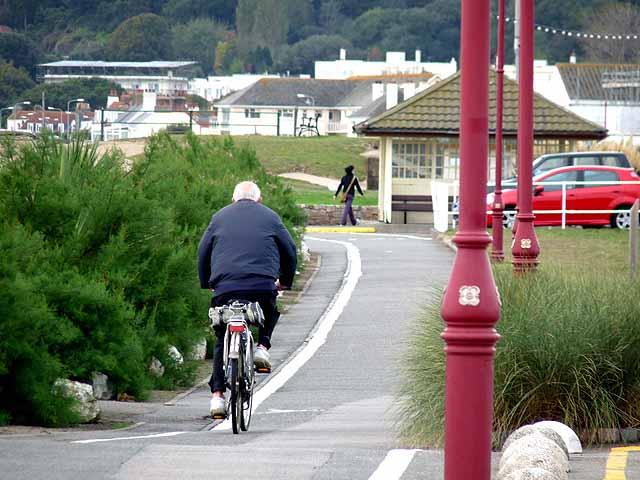 Cycle track alongside St Aubin's Bay