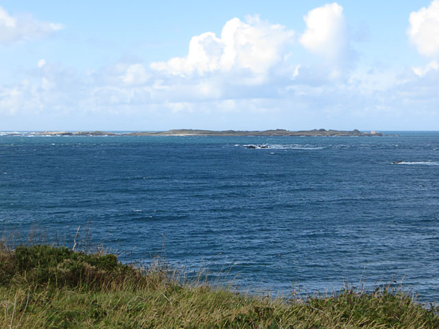 Burhou from above Clonque Bay