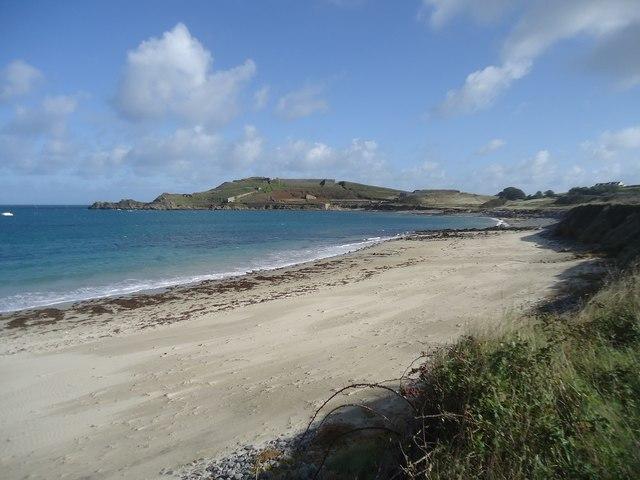 Braye beach and Fort Albert, Alderney