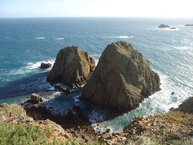 Fourquie (left) and La Nace, off the south-west coast of Alderney