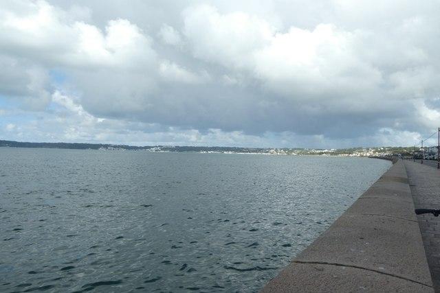 Sea wall around high tide