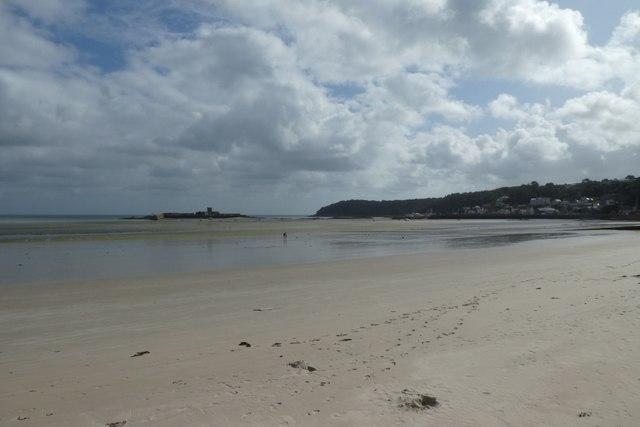Across the beach between St. Aubin and St. Helier